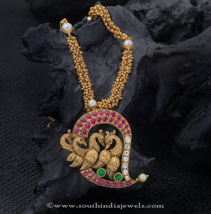 Gold Long Necklace Designs, Gold Antique Long Necklace Designs.