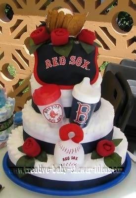 red sox yankees diaper cake