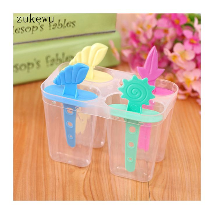 1PC Summer (4 in 1)Home Plastic Diy Popsicle Jelly Ice Cream Tubs Mould Ice Cream Silicone Form Maker Mold