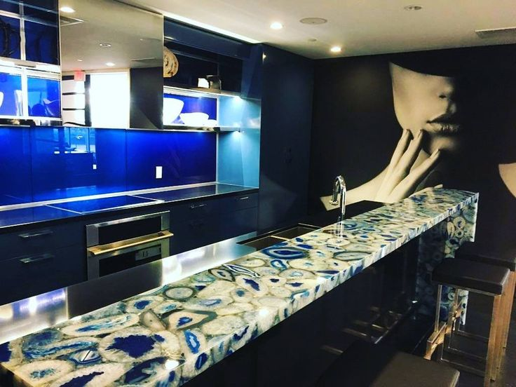 """(@adanacglass) on Instagram: """"Royal Blue Painted Glass Backsplash we recently installed is a perfect compliment to this beautiful…""""  Copyright : Adanac Glass"""