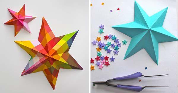 Kreatívny DIY nápad s jednoduchým návodom - ako vytvoriť 3D hviezdy - originálna dekoráciadetskej izby alebo schodiska.Handmade, ozdoba z papiera, origami