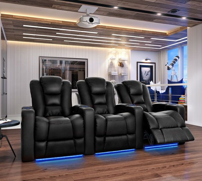 Octane Mega Home theater Seating in Black Bonded Leather | Movie ...