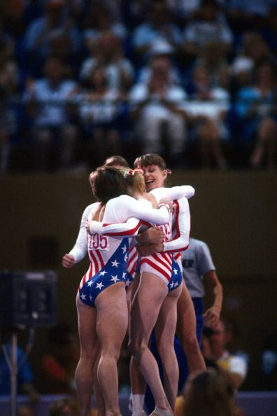 1984 Summer Olympics USA Mary Lou Retton victorious with teammates at Pauley Pavilion Los Angeles CA 8/3/1984 CREDIT Neil Leifer