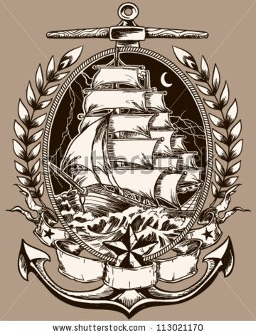 stock-vector-tattoo-style-pirate-ship-in-crest-113021170.jpg 360×470 pixels