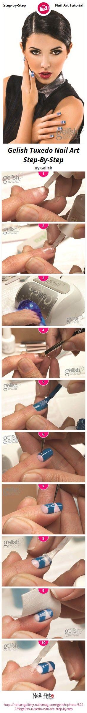 Gelish Tuxedo Nail Art Step-By-Step by Gelish - Nail Art Gallery Step-by-Step Tutorials nailartgallery.nailsmag.com by Nails Magazine www.nailsmag.com #nailart