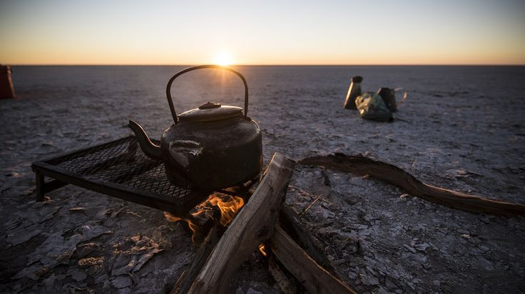Dinner, cooked over an open fire in the middle of the salt pan