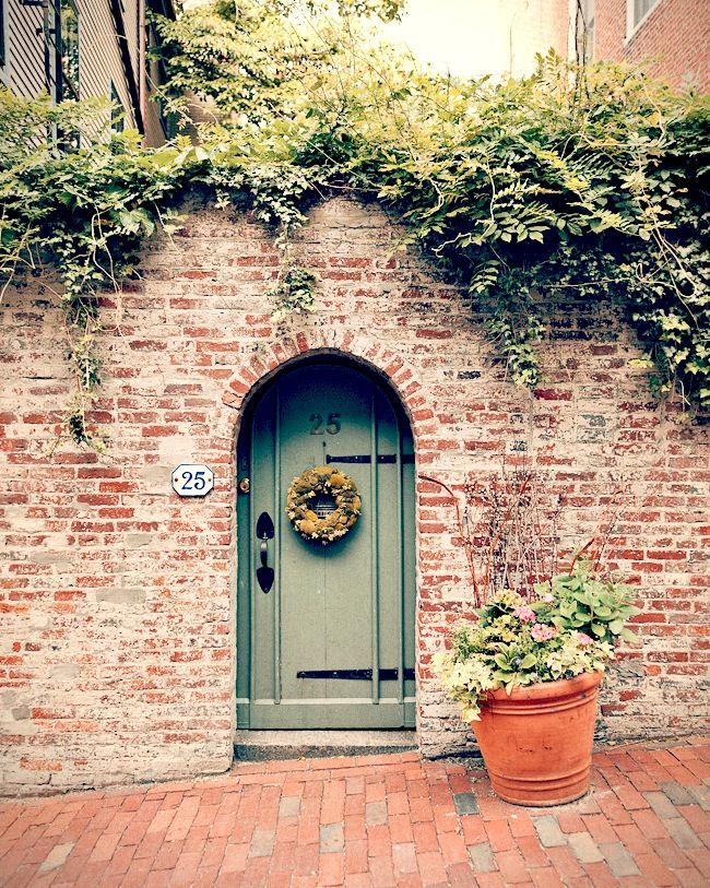 love the paint color with the brick and the vine over the wall.