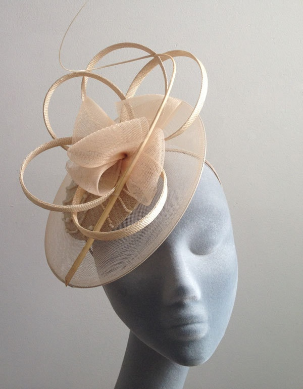 Taupe Beaded Fascinator with Curled Ostrich Spine and Crinoline Edge