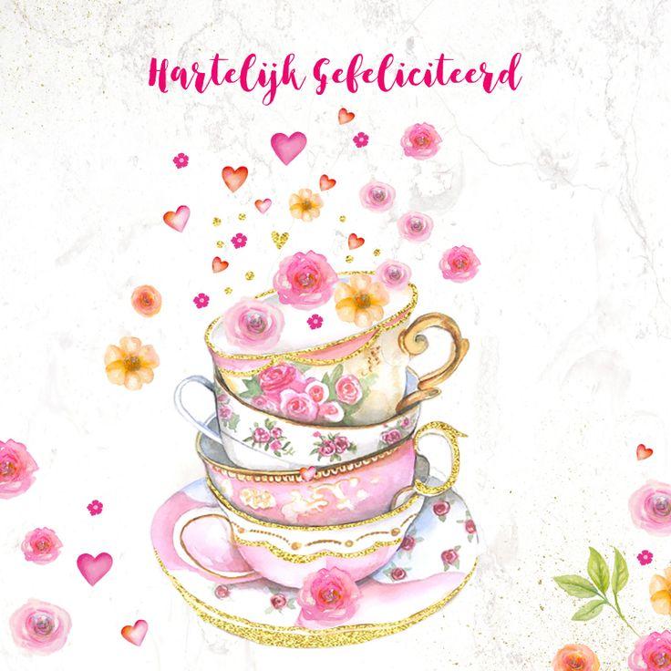 Verjaardag met leuke gestapelde theekopjes versierd met bloemen in aquarel en goudglitter niet echt gedrukt