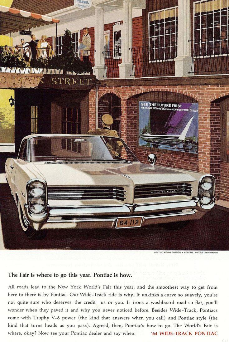 1964 pontiac bonneville wide track convertible ad new york world s fair art illustration print advertisement wall art decor