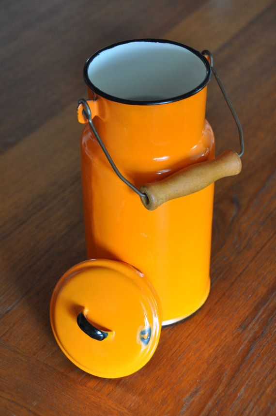 Vintage Orange Enamel Milk Jar / Jug from by TrouloulouVintage, $39.99