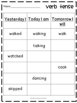 Verb tense practice. Repinned by SOS Inc. Resources pinterest.com/sostherapy/.