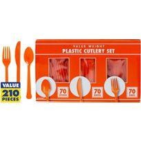 Orange Cutlery Set 210pc Party city