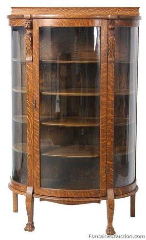 Lion Carved Oak China Cabinet - LOT 390  Estimate: $500 - $750