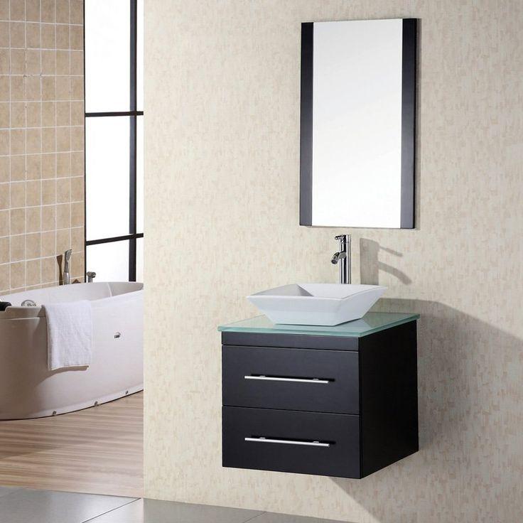 Awesome Websites Portland Single Sink Wall Mount Vanity Set in Espresso w Glass Top