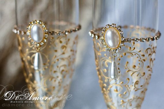 Gold Art Deco Gatsby Style wedding Champagne Flutes/  Gold  Wedding glasses/ / feather Flutes/ Set of 2 Gold