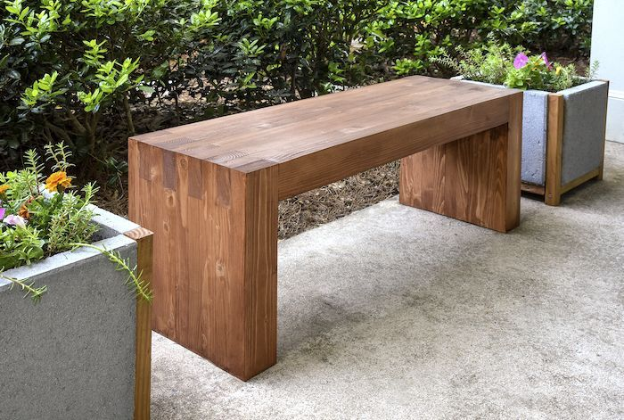 This easy modern DIY outdoor bench was made with $35 of materials - and uses no nails or screws! Looks just like a Williams Sonoma one for $1,400.