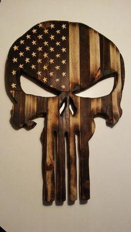 Wooden Punisher Skull