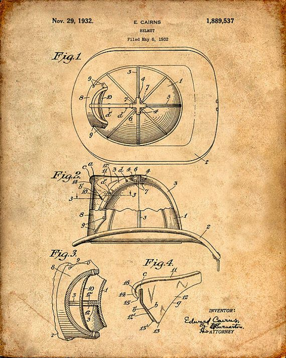 This is a print of the patent drawing for a fire helmet patent in 1932. The original patent has been cleaned up and enhanced to create an attractive