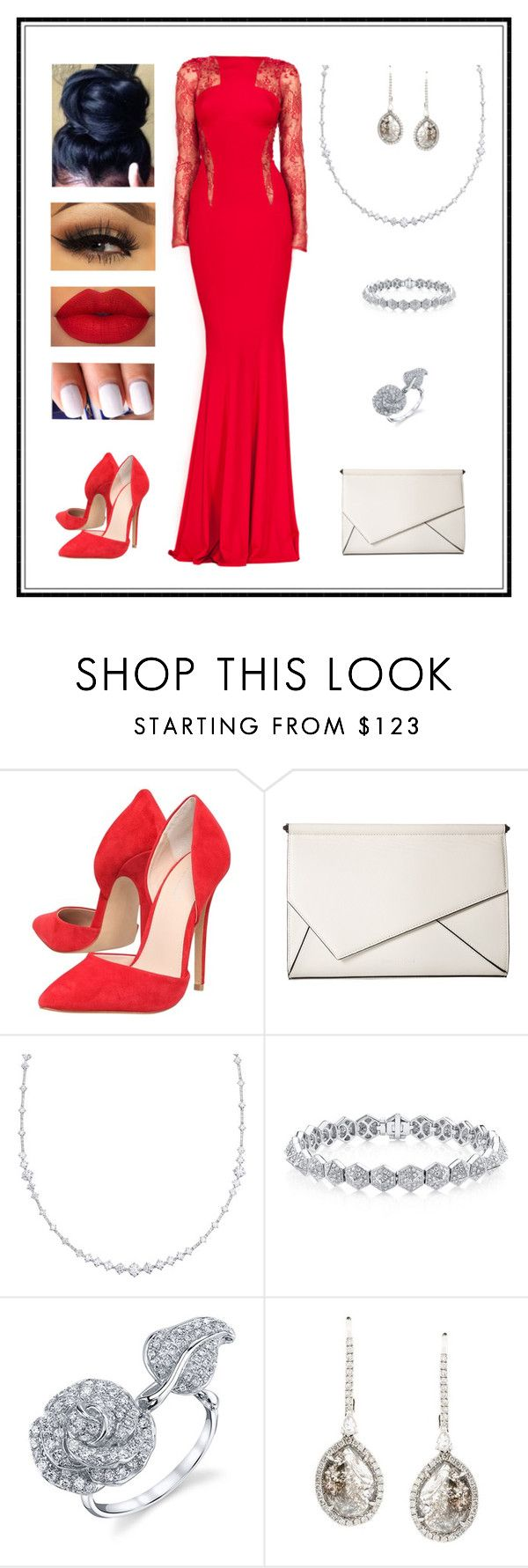 """""""Untitled # 77"""" by binasa87 ❤ liked on Polyvore featuring Zuhair Murad, Carvela, Kendall + Kylie, De Beers, Borgioni and Saqqara"""