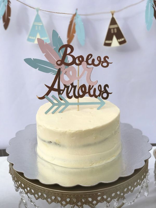 Humorous Gender Reveal Party Ideas   Halfpint Design - Bows or arrows cake topper is a nice addition to a gender reveal party.