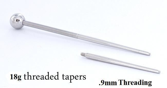"""18g+1+inch+Threaded+Taper+with+.90mm+Threading+-+18g+1+inch+Threaded+Taper+with+.90mm+Threading    Taper+is+18g+(1.0mm)+at+its+thickest+point+and+has+a+.90mmx2.0mm+thread+on+the+end.    Use+these+to+insert+internally+threaded+jewelry+or+better+yet.+Buy+1""""+piercing+needles,+and+use+this+to+install+internal+jewelry+in+1+simple+motion.    The+size+of+the+taper+is+the+thickest+part.    Measures+1+inches+long+(25mm+long)    Made+from+316L+Stainless+Steel.+These+are+Autoclave+safe."""