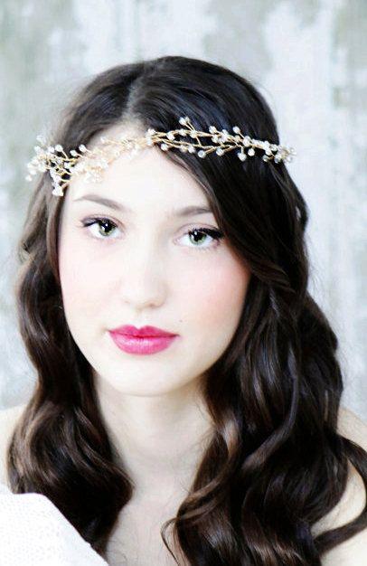 Ethereal Gold Crystal Wedding Accessory Hair Vine, Head ...