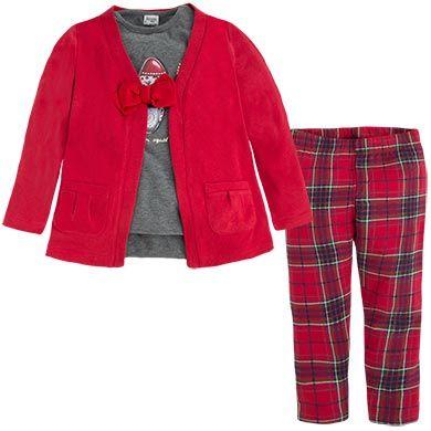 Completo cardigan, maglia e leggings Rossi