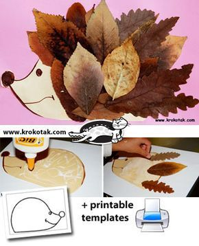 hérisson et feuille d'automne, à faire avec les enfants.
