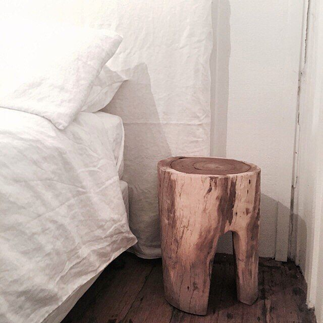 Perfect pairing | Beautiful crisp white IN BED Linen and hand carved bedside table by Hardwood by Hand available in store|   Little Rae Berry