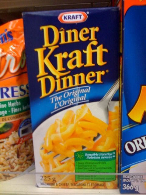 Very Canadian Foods - Kraft Dinner. If you have to ask, you don't get it. Actually, there is a Kraft Road in Fort Erie, Ontario where the Kraft family had their farm before they moved on over to the USA. Some kind of family snit perhaps? Oh well, they left behind the good stuff. ;-)