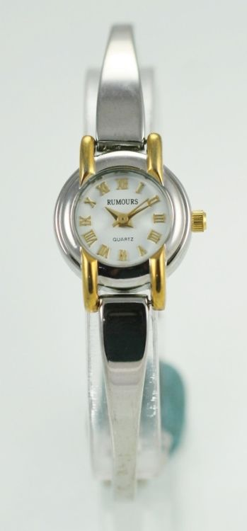 Rumours Watch Womens White Stainless Steel Gold Silver Water Resistant Quartz