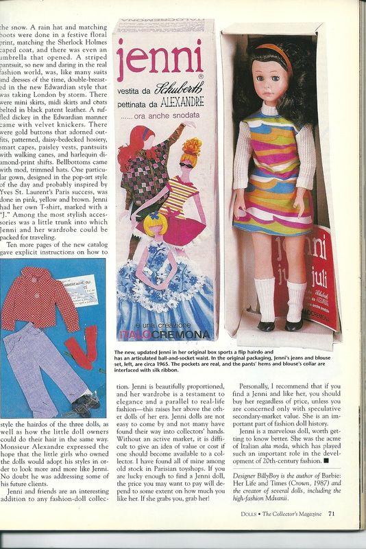 magazine Dolls de Février 1995; pag. 4. Le créateur de ses vêtements est Schuberth et celui de ses coiffures est Alexandre de Paris
