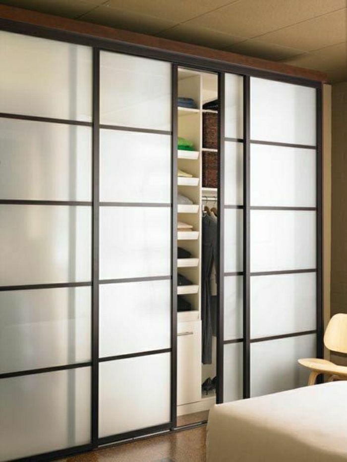 portes coulissantes placard moderne, idée, aménagement moderne maison