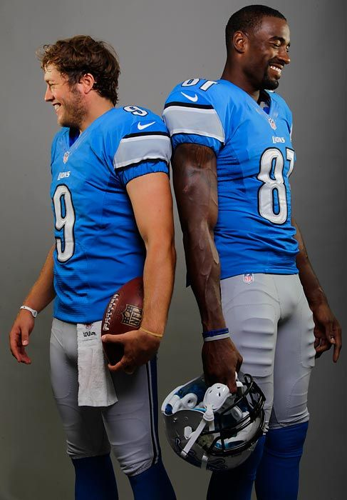 Matthew Stafford & Calvin Johnson. These two are awesome players. October 27, 2013 game against Dallas Cowboys was the BEST GAME EVERY, lions won in the last few seconds of game! Stafford ran the winning  touchdown. Edge of seat nail biting game to the end. LIONS ROAR! Never Underestimate the DETROIT LIONS!   For my brother PAULIE GIAMBRONE. ❤️ Toni Giambrone