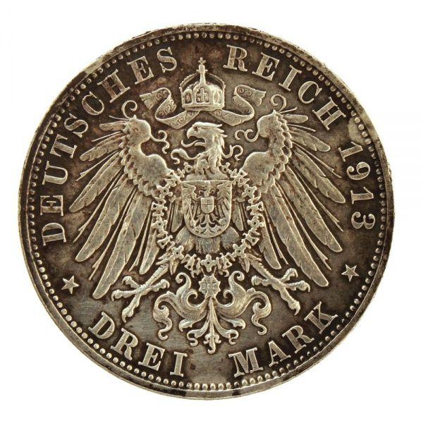Numismática: moeda de Prata - Alemanha - Drei Mark - ano 1913 - comemorativa da Batalha de Leipzig.