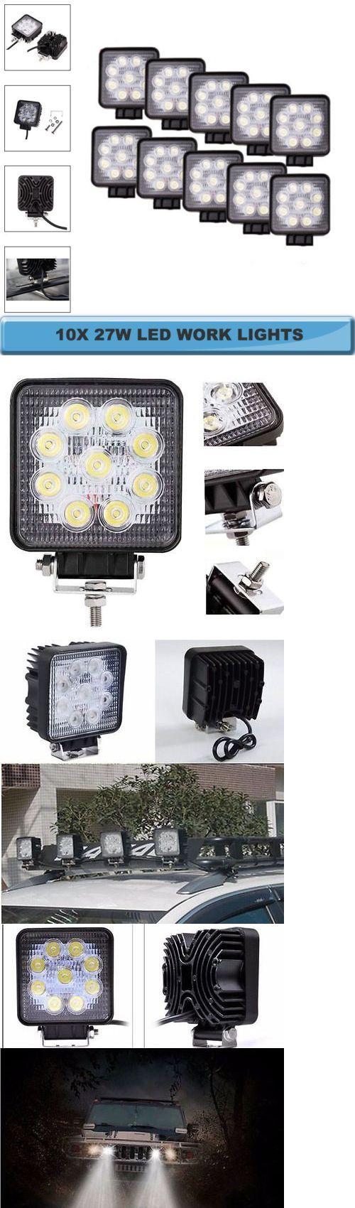 Car Lighting: 10Pcs 27W Led Work Light Bar Headlight Flood Truck Boat Offroad 12V 24V Suv Atv BUY IT NOW ONLY: $55.85
