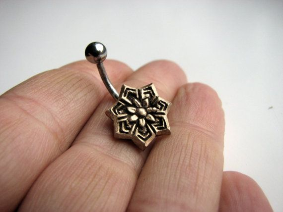 Star flower belly button ring