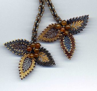 Russian Leaves Lariat Gold Gray detail. Seed bead woven by Jeka Lambert. Honey Jade beads, seed beads.