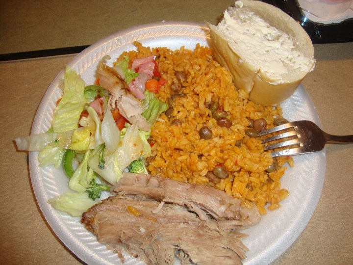 roast pork pan w/butter, arroz con gandules & saladRice, Con Gandules, Roasted Pork, Pork Pan, Pan W Butter