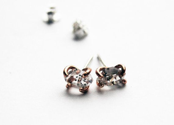 Speckled Herkimer Diamond and Rose Gold Filled studs
