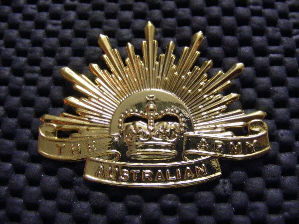 "All Aussie soldiers wear this badge.  "" THE RISING SUN """