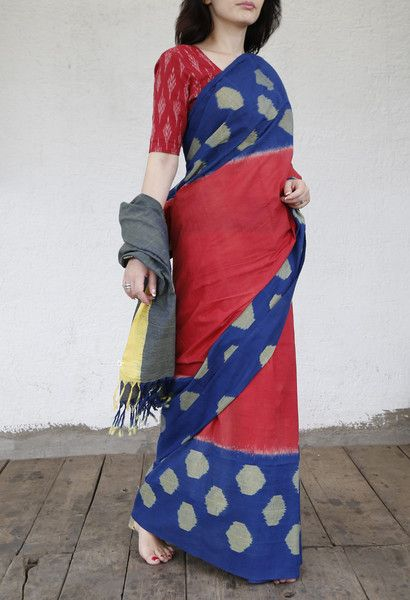 Finest cotton ikat saree. With attached blouse. 100% handwoven ikat with AZO-FREE dyes. Prices exclusive of tax and shipping. Wash separately in cold water.
