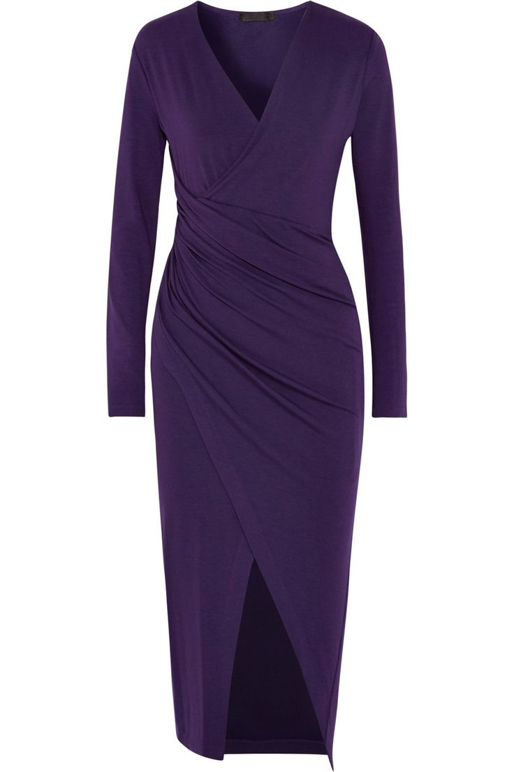 Donna Karan New York | Donna Karan New York's dark-purple jersey dress is an elegant piece for day or evening wear. The wrap-effect front gathers to the side accentuating a slim silhouette. The lustrous satin-jersey lining ensures it sits comfortably next to your figure.  $1,895.00 | NET-A-PORTER.COM