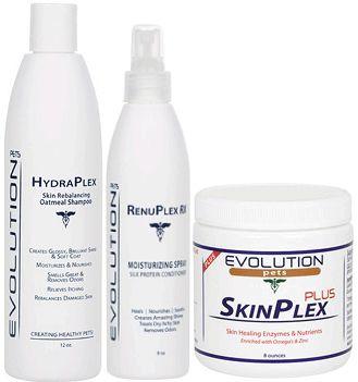 Healthy Coat Kit #1  Kit Includes:  1. SkinPlex PLUS Digestive Enzymes & Nutrients  2. HydraPlex PLUS Medicated Dog Shampoo  3. RenuPlex PLUS Silk Protein Leave-In Conditioner Spray