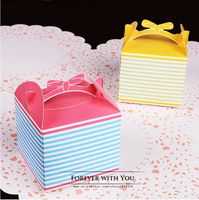 2014 FREE SHIPPING colorful stripe paper cookie favor box  packaging for candle soap chocolate 20pc/lot 9.4*9.4X8cm