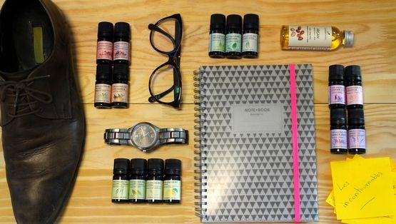 La Box des Huiles Essentielles Incontournables pour débuter en aromathérapie ou en cosmétique maison, contenant de l'huile essentielle de Menthe Poivrée, de Tea Tree, de Citron, de Gaulthérie, de Géranium et bien d'autres !