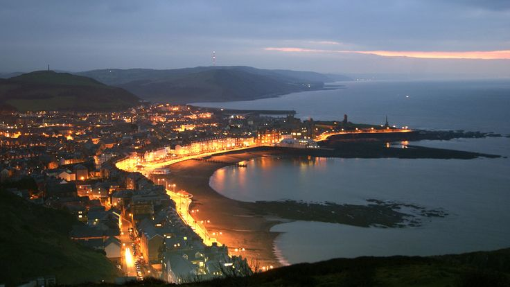 Aberystwyth's lights as seen from Constitution Hill