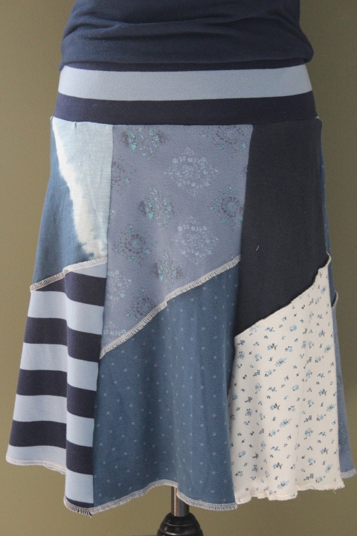patchwork blue upcycle t-skirt