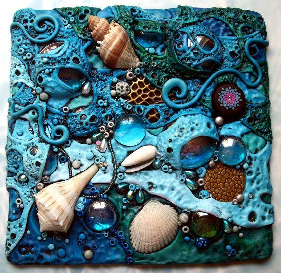 Mosaico arte Tile polímero arcilla objetos por MandarinMoon en Etsy